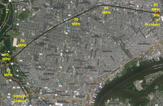 """This map shows the route and speed limits Amtrak 188 moved through after leaving 30th Street Station, before it derailed at the """"Shore Curve."""""""
